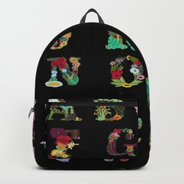 Floral Alphabet in Black Backpack