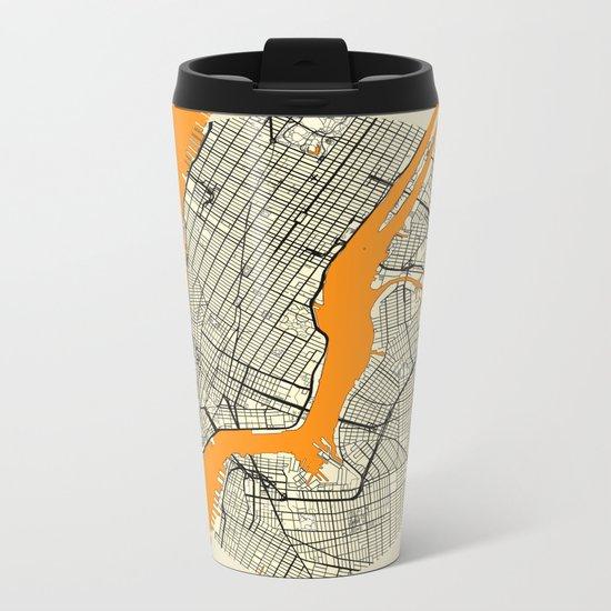 New York Map Moon Metal Travel Mug