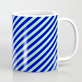 Green and Blue Colored Lines Pattern Coffee Mug