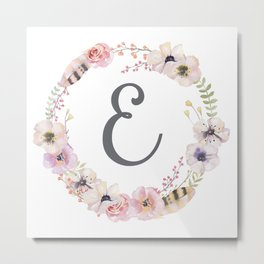 Floral Wreath - E Metal Print