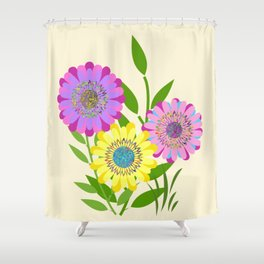 Three Fancy Flowers Shower Curtain