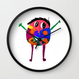 DooDoo Boy | Kids Painting by Elisavet Wall Clock
