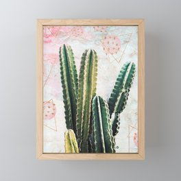cactus and geometrics Framed Mini Art Print