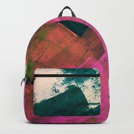 Expand [2]: a colorful, minimal abstract piece in pinks, green, and blue Backpack