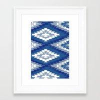 kilim Framed Art Prints featuring Kilim Rug Blue by suzyoconnor