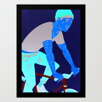 tattoos Art Prints featuring Bicycles & Tattoos by Matt Taylor