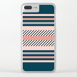 Colorful navy stripes Clear iPhone Case