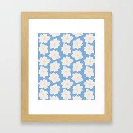 Watercolor Magnolias in Carolina Blue Framed Art Print