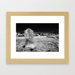 Gravestone in a cemetery on the side of Pacific Coast Highway. Framed Art Print