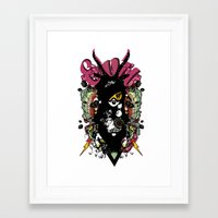 evil Framed Art Prints featuring EVIL by DON'T NEED NO SAMURAI