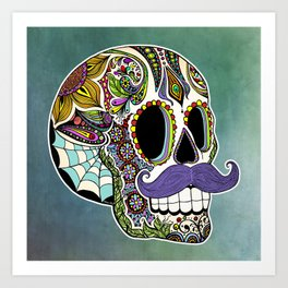 Mustache Sugar Skull Art Print