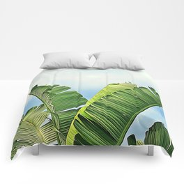 Frayed Palm Fronds Against Blue Sky Comforters