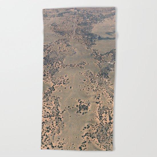 Mojave Desert bird's eye view Beach Towel