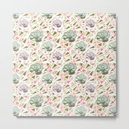 Cute Succulent Pattern Metal Print