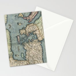 Vintage Map of The Mediterranean (1584) Stationery Cards