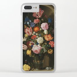 Ambrosius Bosschaerts the Elder - Bouquet of Flowers in a Stone Niche Clear iPhone Case