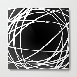 Black and White Circles and Swirls Modern Abstract Metal Print