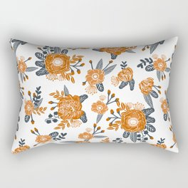Texas orange and white university texans longhorns college football sports florals Rectangular Pillow