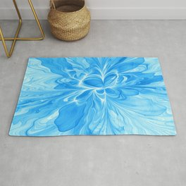Blue Jeans Colors And White, Abstract Fractal Art Rug
