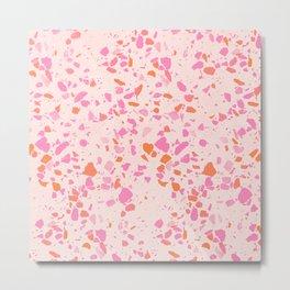 Terrazzo paper - pink Metal Print