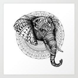 Mandala Elephant Art Print