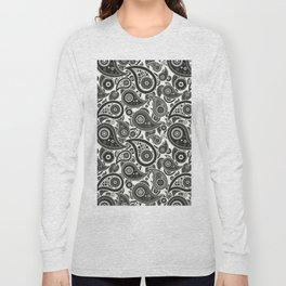 Ivory White Paisley Pattern Long Sleeve T-shirt