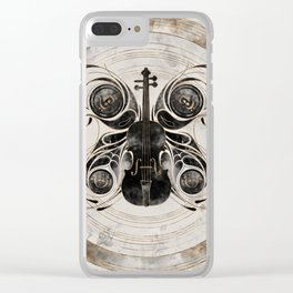 Violin Butterfly  - Watercolor and gold Clear iPhone Case