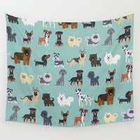 german Wall Tapestries featuring GERMAN DOGS by DoggieDrawings