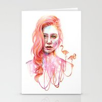 flamingo Stationery Cards featuring Flamingo by Veronika Weroni Vajdová