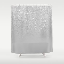 Trendy modern silver ombre grey color block Shower Curtain