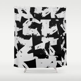 Distant Memories - Abstract Painting In Black And White Shower Curtain