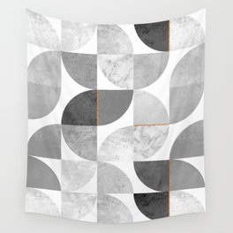 Marble Gray Copper Black and white circles Wall Tapestry