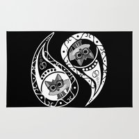 ying yang Area & Throw Rugs featuring Ying Yang - Fox Nerd by Adamzworld