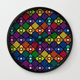 Colorful Floral Pattern Wall Clock