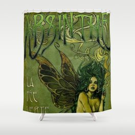 Vintage Parisian Green Fairy Absinthe Alcoholic Aperitif Advertisement Poster Shower Curtain