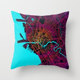 Manila City Map of Philippines - Neon Throw Pillow