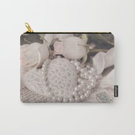 Soft Pink Nostalgic Rose and Heart Still Carry-All Pouch
