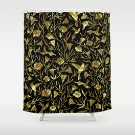 Black and gold foil humming birds & leafs pattern Shower Curtain