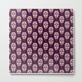 Day Of The Dead Pattern   Dia De Los Muertos Skull Metal Print