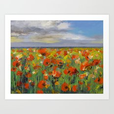 Poppy Field with Storm Clouds Art Print