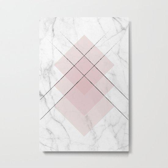 White Marble Scandinavian Geometric Blush Pink Squares Metal Print