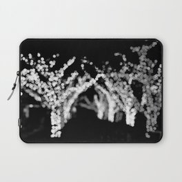 Twinkle Lights - Holiday Lights in Black and White Laptop Sleeve