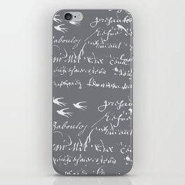 French Script on Steel Gray iPhone Skin