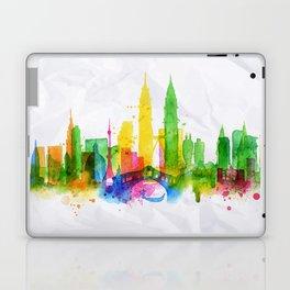 Silhouette overlay city Kuala Lumpur Laptop & iPad Skin
