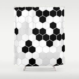 Honeycomb Pattern | Black and White Design | Minimalism Shower Curtain