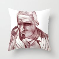 actor Throw Pillows featuring 1898 Stage actor by seb mcnulty