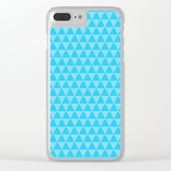 Simple Geometric Triangle Pattern- White on Teal - Mix & Match with Simplicity of life Clear iPhone Case