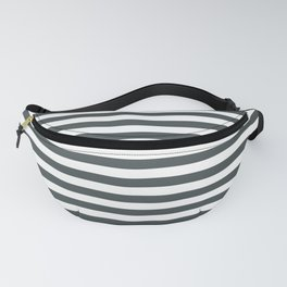 PPG Night Watch Pewter Green & White Uniform Stripes Fat Horizontal Line Pattern Fanny Pack