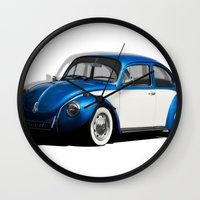volkswagen Wall Clocks featuring Volkswagen Beetle by cjsphotos