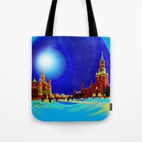 moscow Tote Bags featuring Moscow by JT Digital Art
